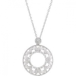 Sterling Silver Cirlce Diamond Pendant