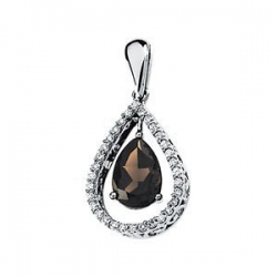 Genuine Smoky Quartz and Diamond Pendant