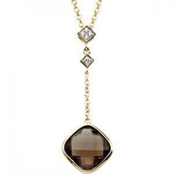Genuine Checkerboard Smoky Quartz and Diamond Pendant