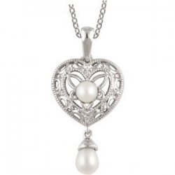 Freshwater Cultured Pearl and Diamond Pendant