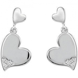 04 ct tw Diamond Heart Earrings