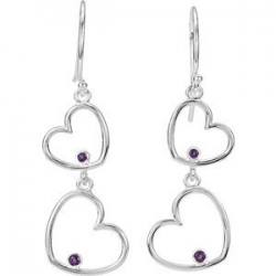 Amethyst Double Heart Dangle Earrings