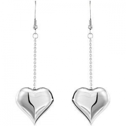 Stainless Steel Heart Drop Earrings
