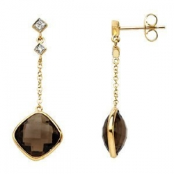 enuine Checkerboard Smoky Quartz   Diamond Earrings