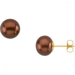 Freshwater Dyed Chocolate Cultured Pearl Earrings