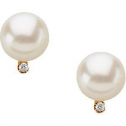 Freshwater Pearl   Diamond Earrings