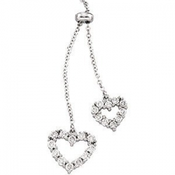 Two Dangle Hearts Diamond Pendant