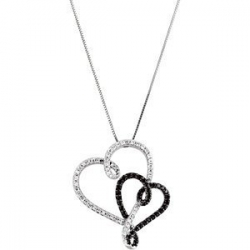 Black and White Diamond Hearts Pendant