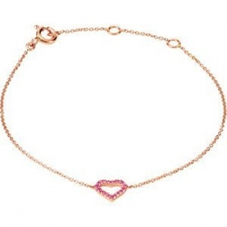 Genuine Pink Sapphire Heart Adjustable Bracelet