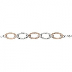 Immersion Plated Stainless Steel Hammered Oval Link Bracelet