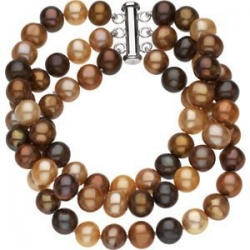 Freshwater Dyed Chocolate Cultured Pearl Triple Strand Bracelet