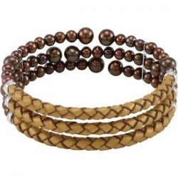 FFreshwater Cultured Copper Color Pearl   Leather Cuff Bracelet