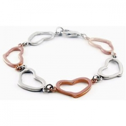 Stainless Steel Heart Link Bracelet
