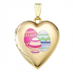 Solid 14K Yellow Gold Color Laser Sweetheart Locket