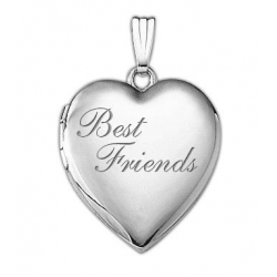 14K White Gold  Best Friends  Heart Locket