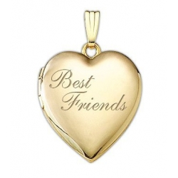 Solid 14K Yellow Gold  Best Friends  Heart Locket