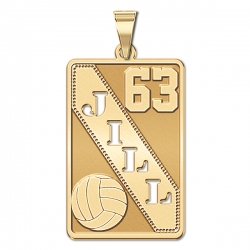 Personalized Volleyball Pendant w  Cut out Name   Number