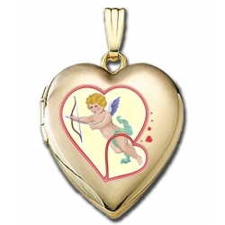 Solid 14K Yellow Gold  Valentines Cupid  Sweetheart Locket
