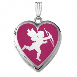 14k White Gold Sweetheart  Cupid Silhouette   Locket