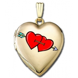 14K Gold Filled  Valentines Arrow Hearts  Sweetheart Locket