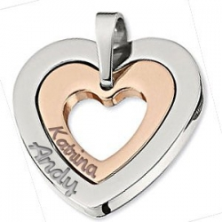 Personalized Stainless Steel Couple s Heart  Pendant