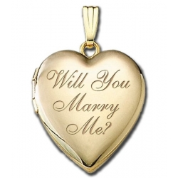 Solid 14K Yellow Gold    Will You Marry Me    Sweetheart  Locket