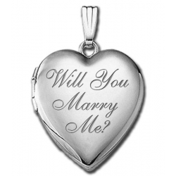 14k White Gold Sweetheart    Will You Marry Me    Locket