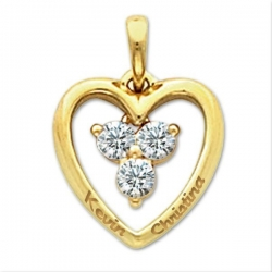 Personalized Sterling Silver Couple s Heart  Pendant w  Three CZ s