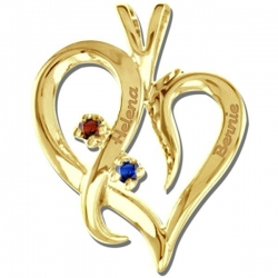 Personalized 14K White Gold  Couple s Heart  Pendant w  Birthstones