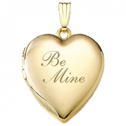 Solid 14K Yellow Gold  Be Mine  Locket
