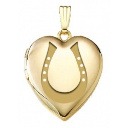 Solid 14K Yellow Gold  Horeshoe  Locket