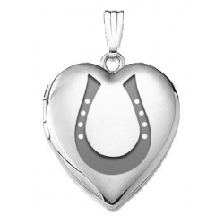14k White Gold  Horseshoe  Locket
