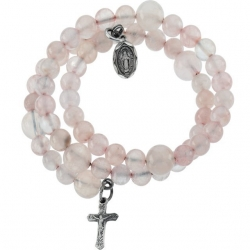 Rose Quartz Wrap Rosary Bracelet