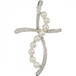 Diamond and Pearl Cross Pendant