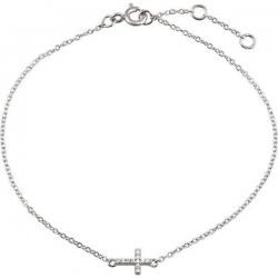Cubic Zirconia Sideways Cross Design Bracelet
