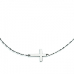Sterling Silver Large Sideways Cross Necklace