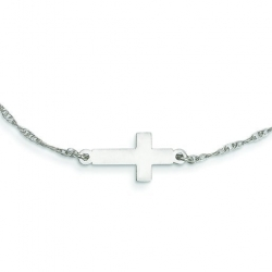 Sterling Silver Small Sideways Cross Necklace