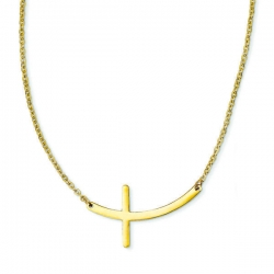 Stainless Steel Yellow Plated Sideways Cross 18in Necklace