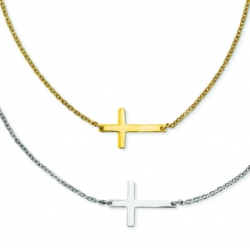 Stainless Steel Double Sideways Cross Layered Necklace