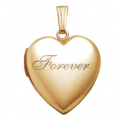 Solid 14K Yellow Gold Forever Heart Locket