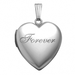 14k White Gold Forever Heart  Locket