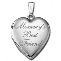 14k White Gold Mommy s Best Friend Heart  Locket