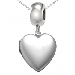 Sterling Silver  Pandora Style  Bead Charm Heart Locket