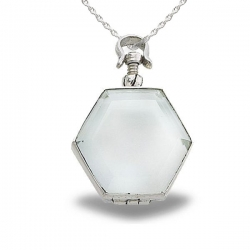 Sterling Silver Hexagon Shaped Glass Dome Locket