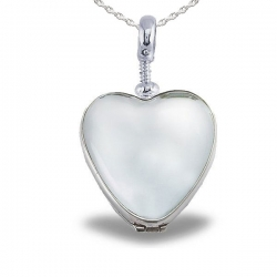 Sterling Silver Heart Shaped Glass Dome Locket