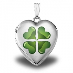 Sterling Silver   Green Four Leaf Clover   Heart Locket