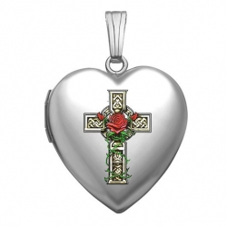 14K White Gold  Celtic Cross With Rose   Sweetheart Locket