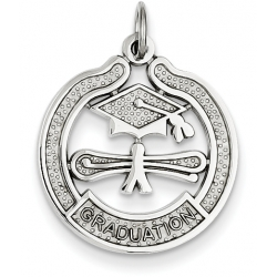 14k White Gold Graduation Charm