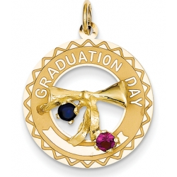 14k Graduation Day Charm with Synthetic Stones Charm