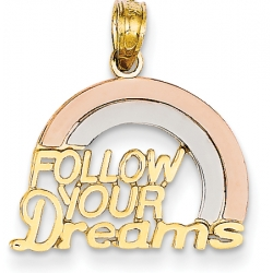 14k Tri color Follow Your Dreams Rainbow Pendant